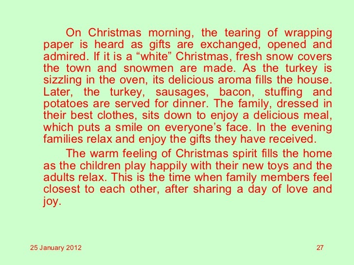 descriptive essays about christmas morning