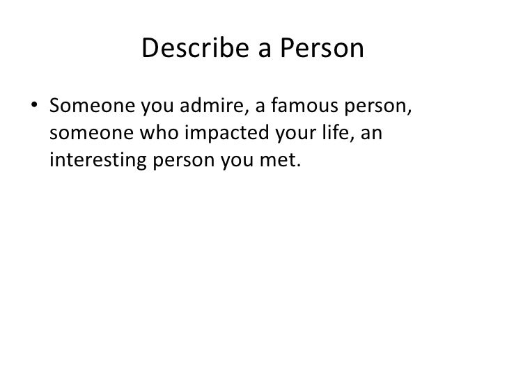 Description of a person - Essay - Anglais facile