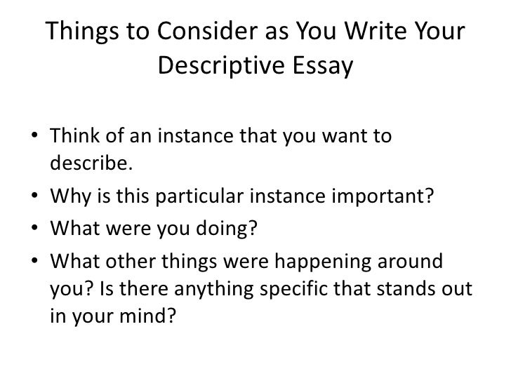 Writing Descriptive Narrative Essay