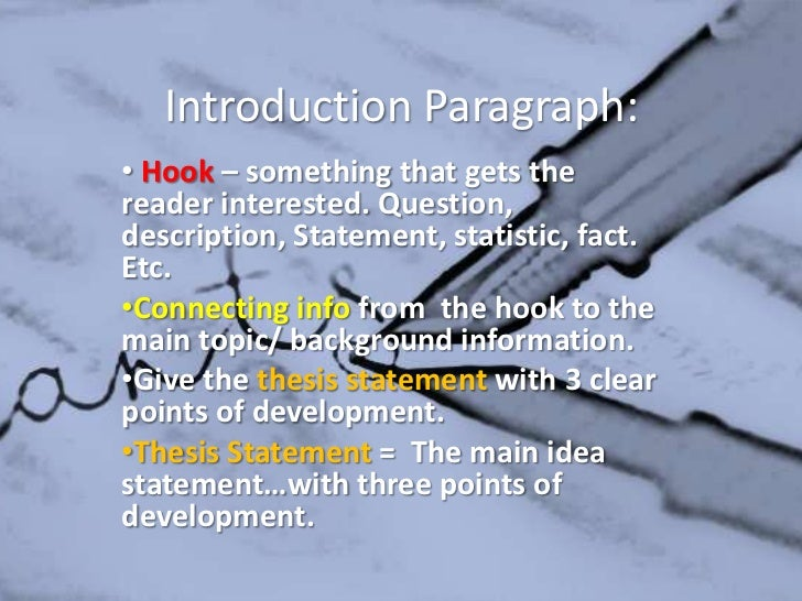 good descriptive essay introduction A good five-paragraph descriptive essay lets readers actually see in their mind's eye what is being described by using the five senses, a descriptive essay paint pictures with words for.