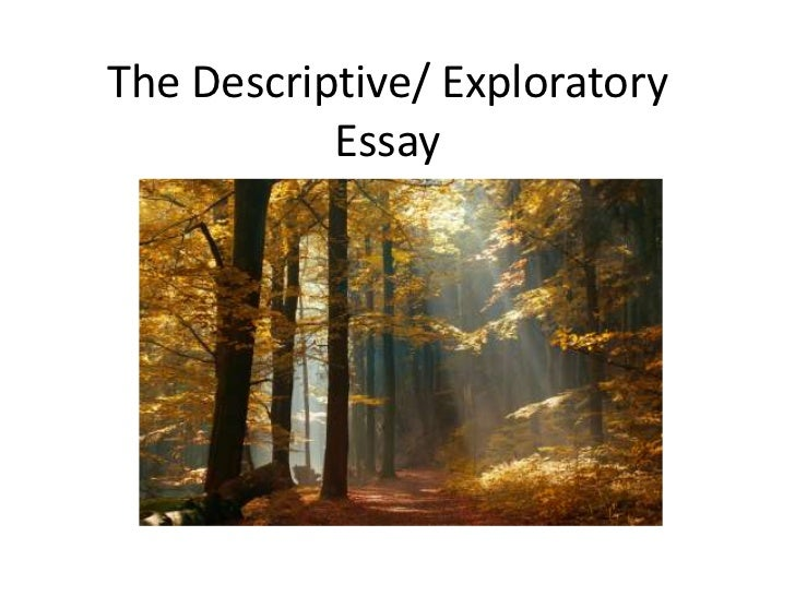 The Descriptive/ Exploratory           Essay          (With thanks to Jesse Seldess)