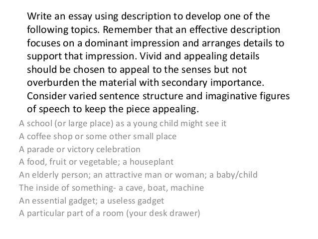 using description in an essay