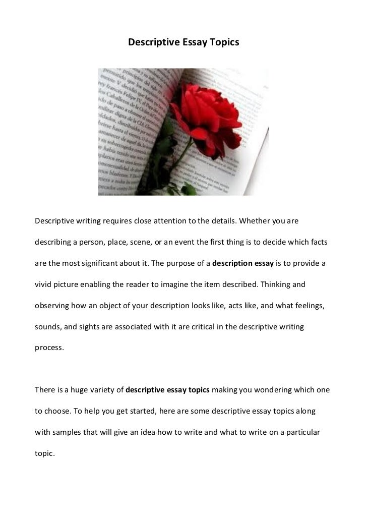 Doc.#: Places to Write About in a Descriptive Essay – Narrative ...