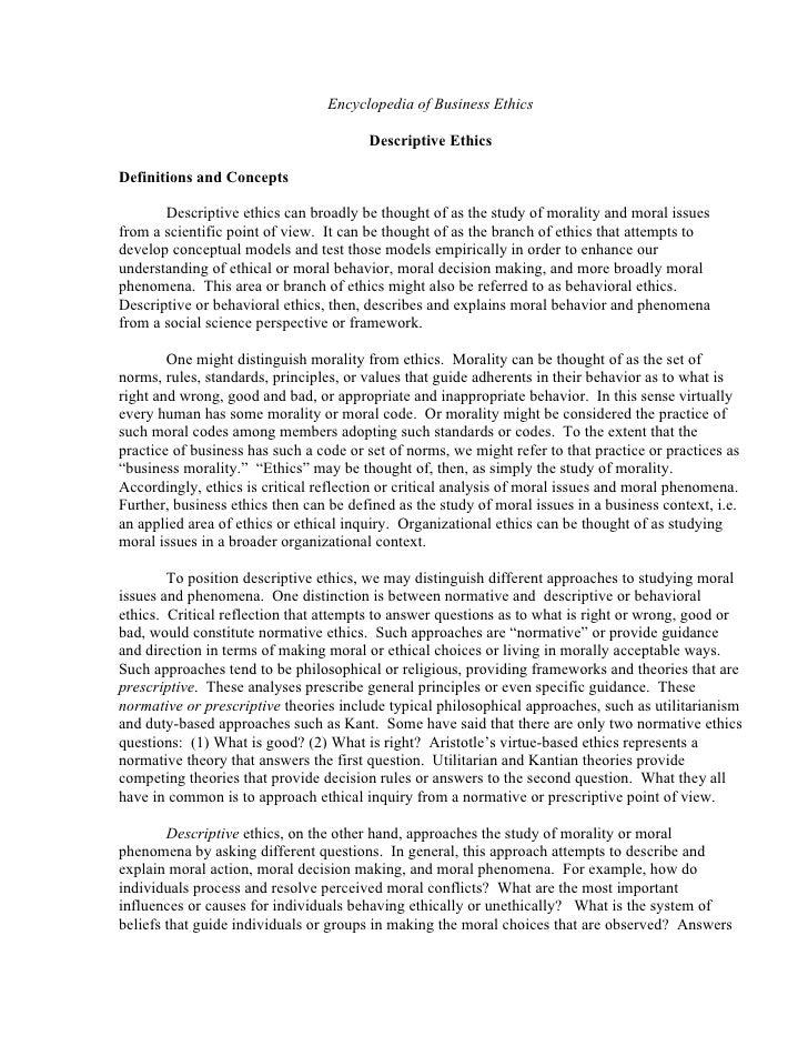 Descriptive Ethics   Encyclopedia Of Business Ethics