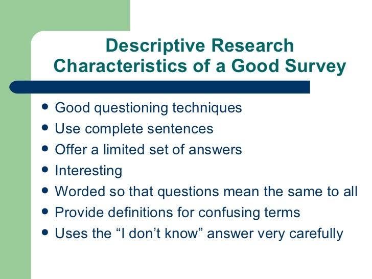 Descriptive survey research