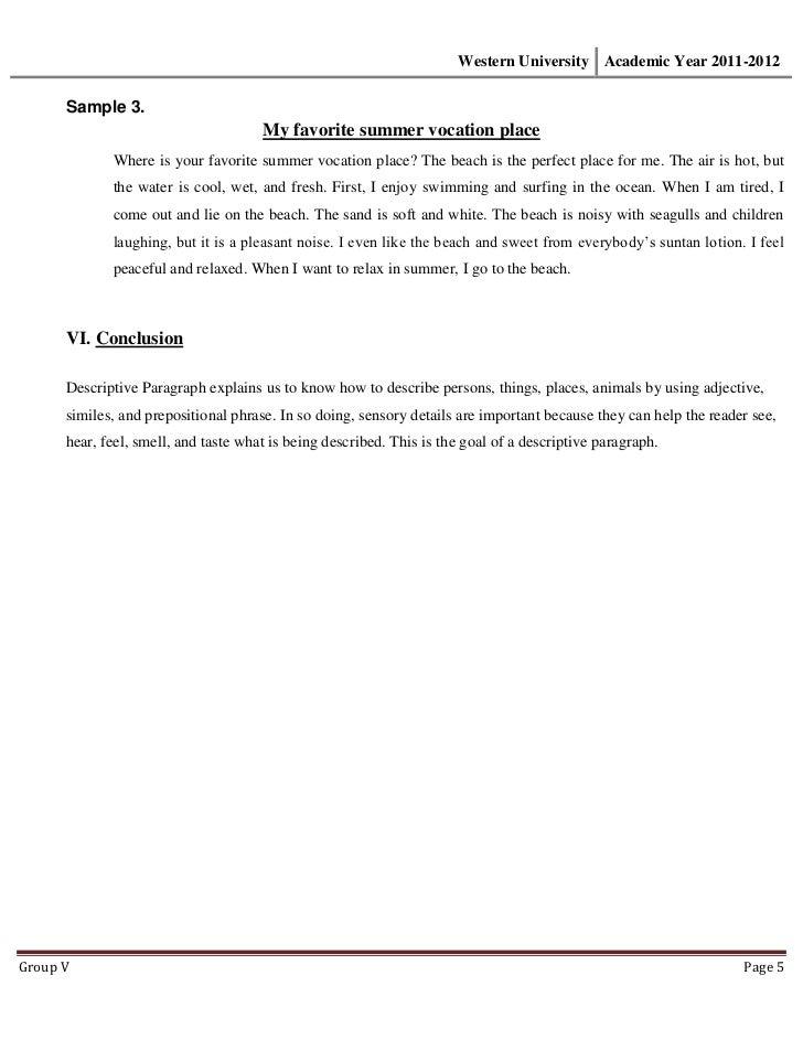 Writing Prompts For Descriptive Essay