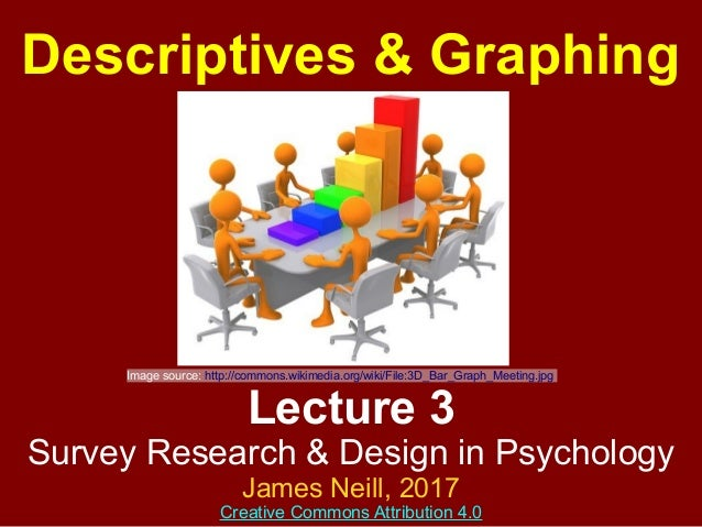 Lecture 3 Survey Research & Design in Psychology James Neill, 2016 Creative Commons Attribution 4.0 Descriptives & Graphing