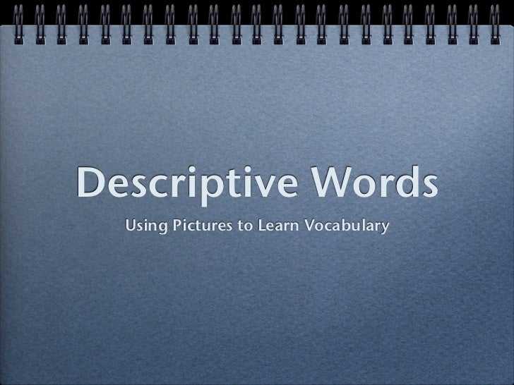 Descriptive Words   Using Pictures to Learn Vocabulary