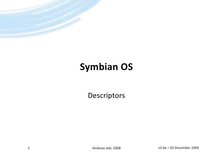 Symbian OS - Descriptors