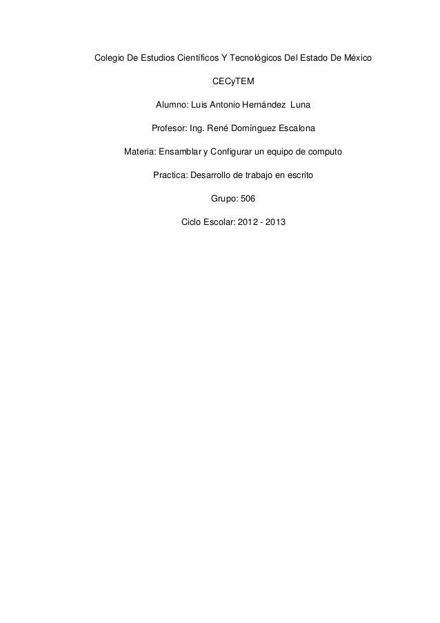 Colegio De Estudios Científicos Y Tecnológicos Del Estado De México                             CECyTEM              Alumn...