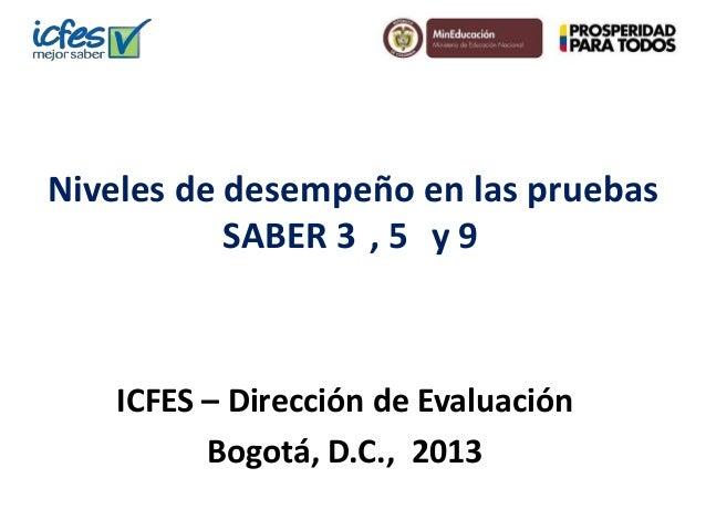 Niveles de desempeño en las pruebas SABER 3 , 5 y 9  ICFES – Dirección de Evaluación Bogotá, D.C., 2013