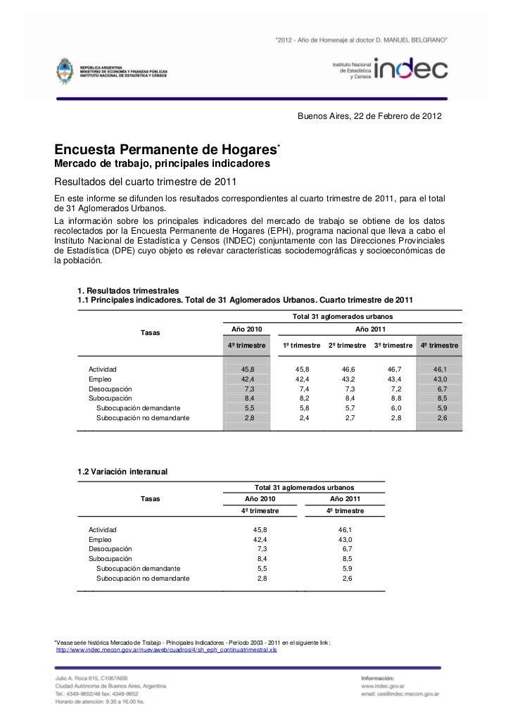Buenos Aires, 22 de Febrero de 2012Encuesta Permanente de Hogares*Mercado de trabajo, principales indicadoresResultados de...