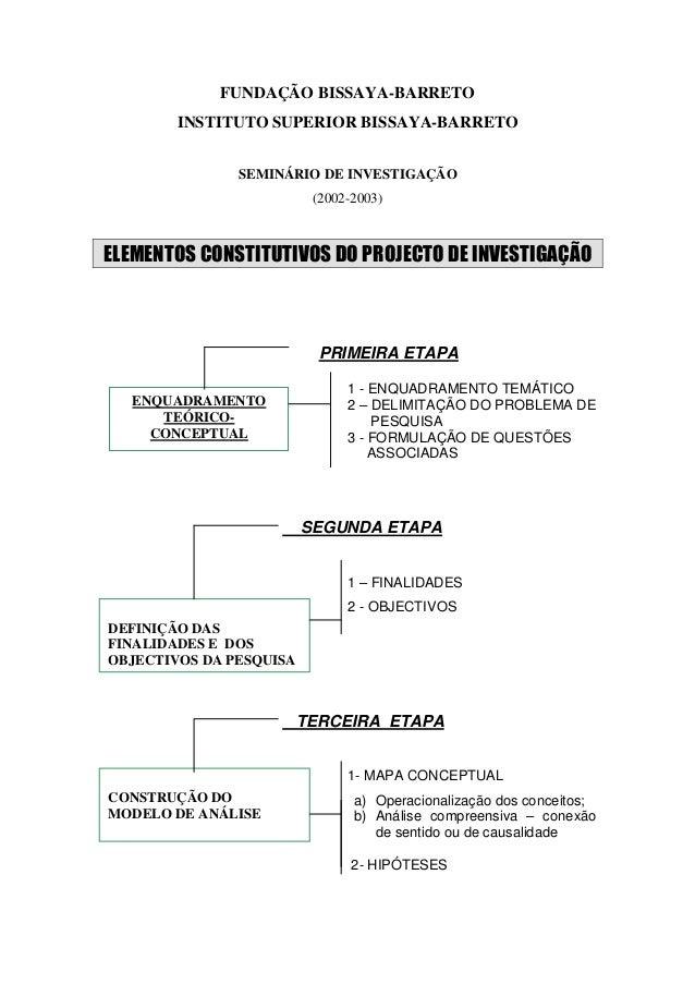 FUNDAÇÃO BISSAYA-BARRETO        INSTITUTO SUPERIOR BISSAYA-BARRETO               SEMINÁRIO DE INVESTIGAÇÃO                ...