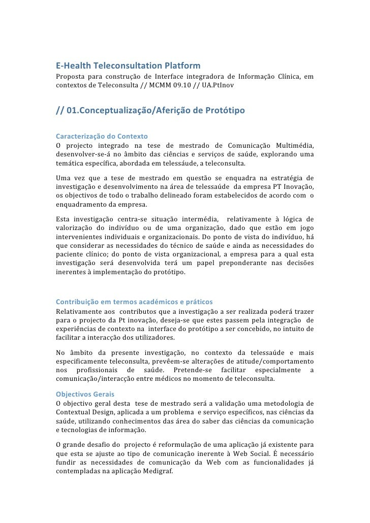 E-Health Tele.Platform  // Desenho Metodologico