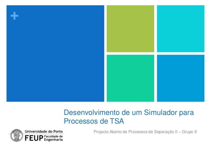 +    Desenvolvimento de um Simulador para    Processos de TSA            Projecto Aberto de Processos de Separação II – Gr...