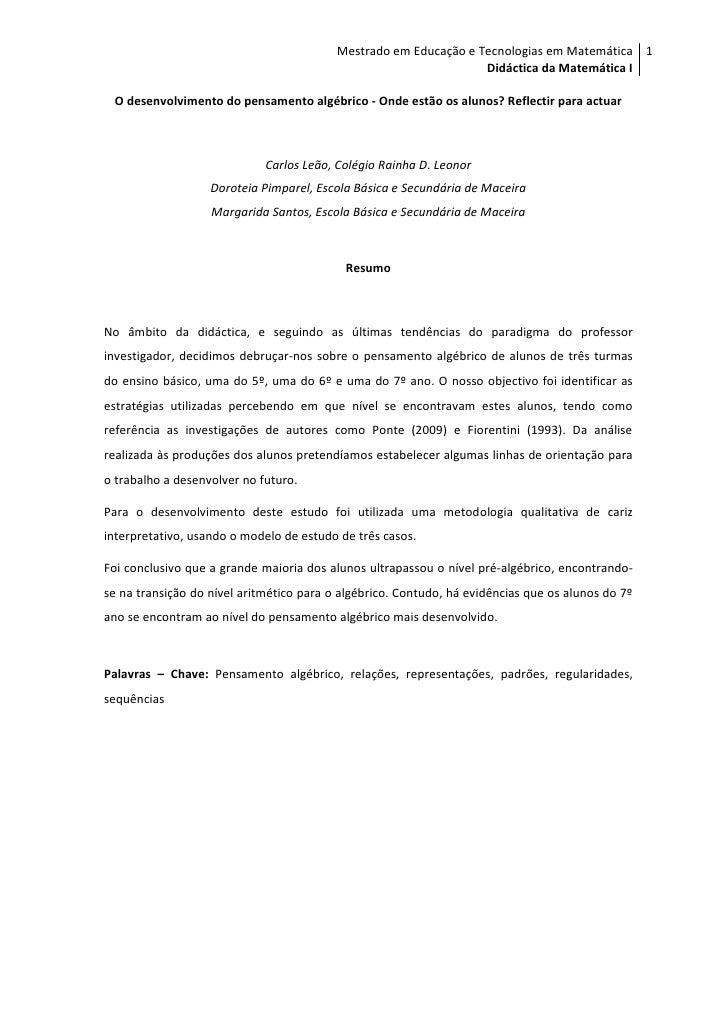 Mestrado em Educação e Tecnologias em Matemática 1                                                                  Didáct...