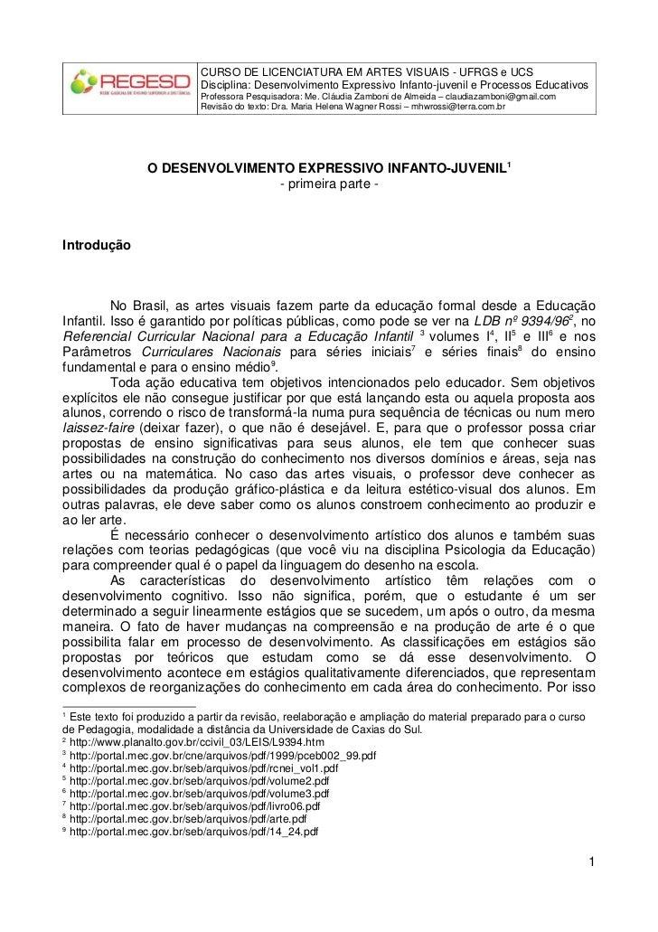 CURSO DE LICENCIATURA EM ARTES VISUAIS - UFRGS e UCS                            Disciplina: Desenvolvimento Expressivo Inf...