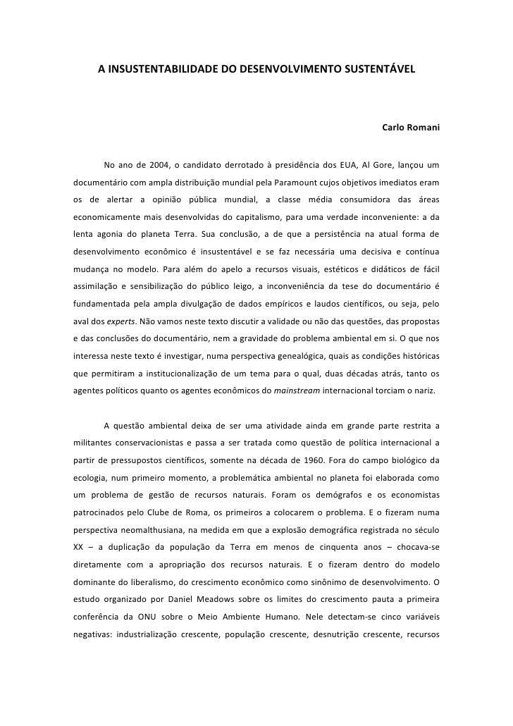 A INSUSTENTABILIDADE DO DESENVOLVIMENTO SUSTENTÁVEL                                                                       ...