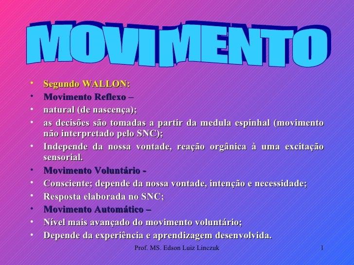 <ul><li>Segundo WALLON: </li></ul><ul><li>Movimento Reflexo –  </li></ul><ul><li>natural (de nascença); </li></ul><ul><li>...