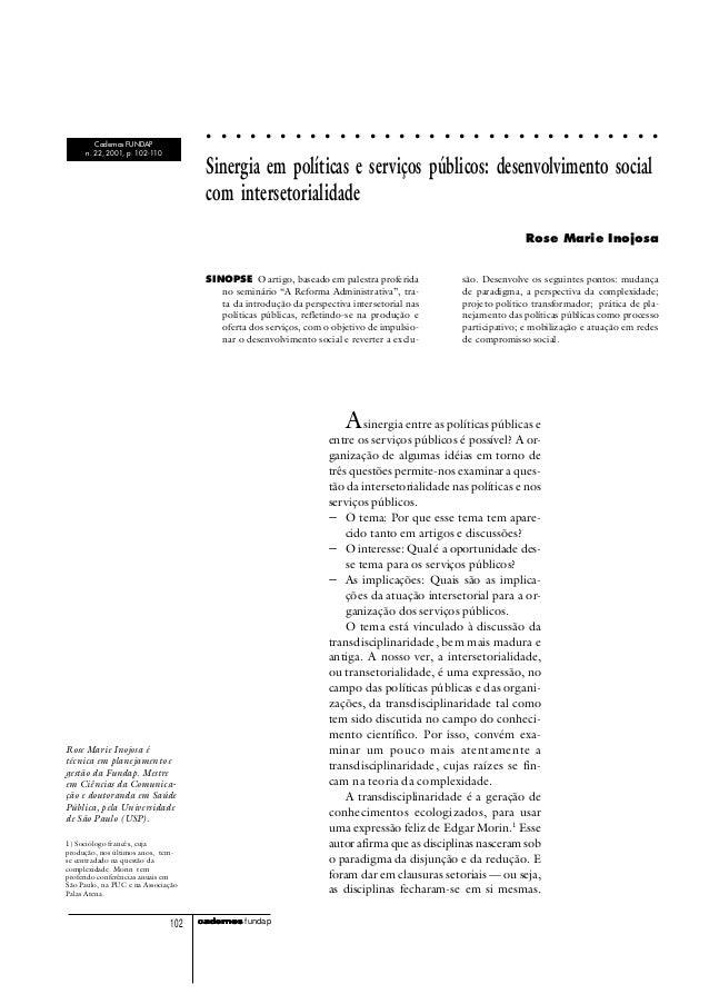 cadercadercadercadercadernosnosnosnosnos fundap102 Sinergia em políticas e serviços públicos: desenvolvimento social com i...