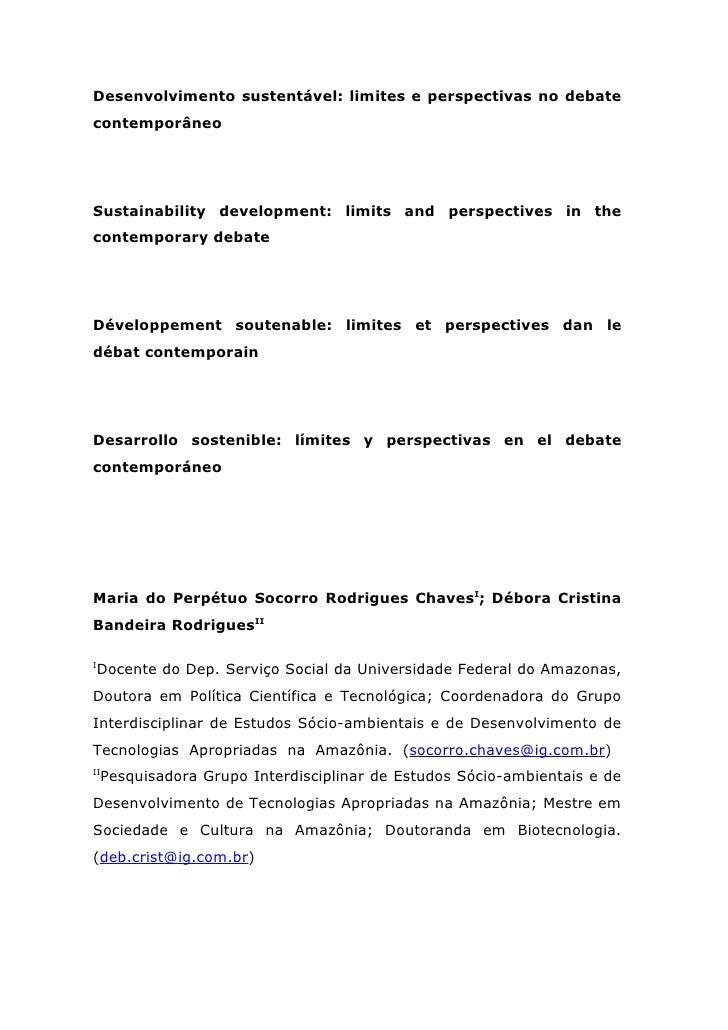 Desenvolvimento sustentável: limites e perspectivas no debatecontemporâneoSustainability development: limits and perspecti...