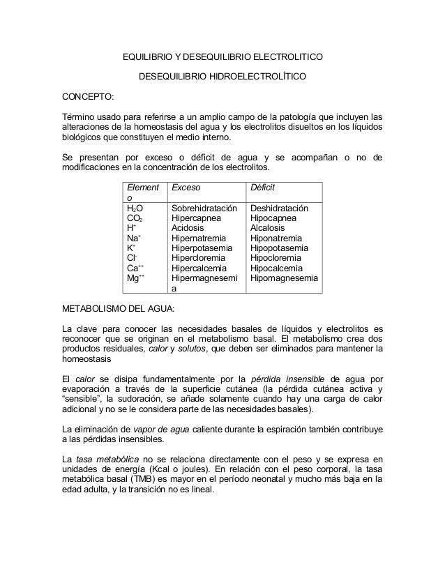 EQUILIBRIO Y DESEQUILIBRIO ELECTROLITICODESEQUILIBRIO HIDROELECTROLÍTICOCONCEPTO:Término usado para referirse a un amplio ...