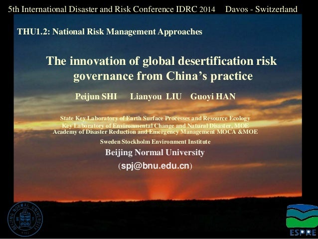 5th International Disaster and Risk Conference IDRC 2014 Davos - Switzerland  THU1.2: National Risk Management Approaches ...