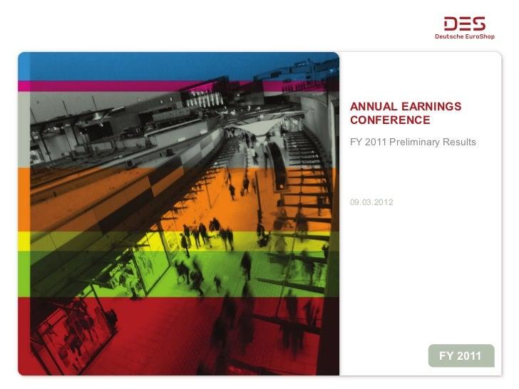 Deutsche EuroShop - Analyst Conference Presentation - Preliminary Results 2011
