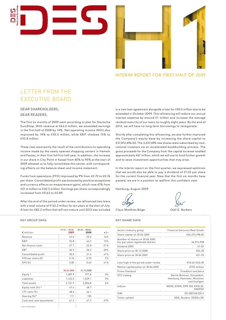 InterIm report for fIrst half of 2009    Letter from the executive Board Dear ShareholDerS,                               ...