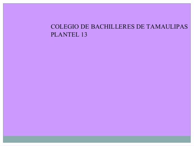 COLEGIO DE BACHILLERES DE TAMAULIPAS PLANTEL 13