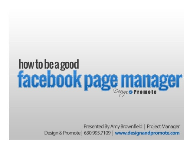How To Be A Good Facebook Page Manager