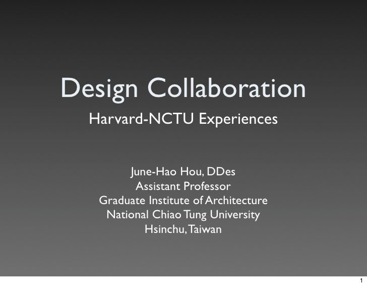 Design Collaboration: Harvard-NCTU Experiences