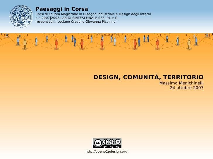 Paesaggi in Corsa Corsi di Laurea Magistrale in Disegno Industriale e Design degli Interni a.a.2007|2008 LAB DI SINTESI FI...