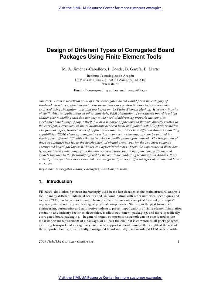 Design of Different Types of Corrugated Board Packages Using Finite Element Tools