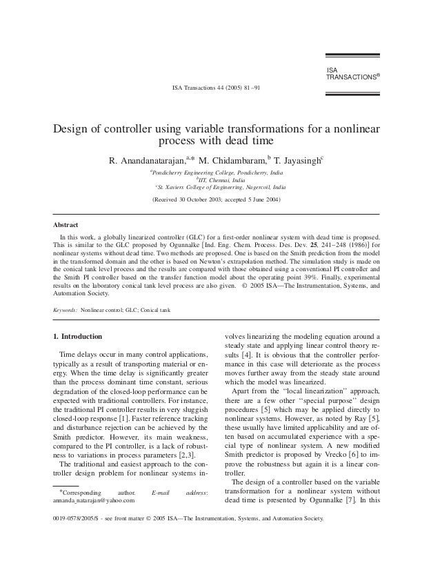 Design of controller using variable transformations for a nonlinear process with dead time