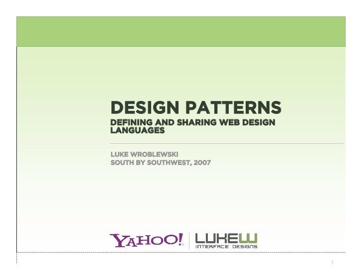 Design Patterns: Defining and Sharing Web Design Languages