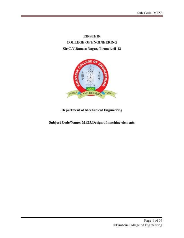 Sub Code: ME53                    EINSTEIN          COLLEGE OF ENGINEERING        Sir.C.V.Raman Nagar, Tirunelveli-12     ...