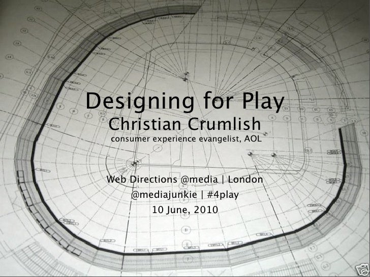 Designing for Play   Christian Crumlish   consumer experience evangelist, AOL      Web Directions @media | London       @m...