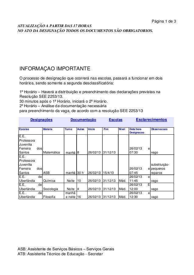 Página 1 de 3ATUALIZAÇÃO A PARTIR DAS 17 HORASNO ATO DA DESIGNAÇÃO TODOS OS DOCUMENTOS SÃO OBRIGATORIOS. INFORMAÇÃO IMPORT...