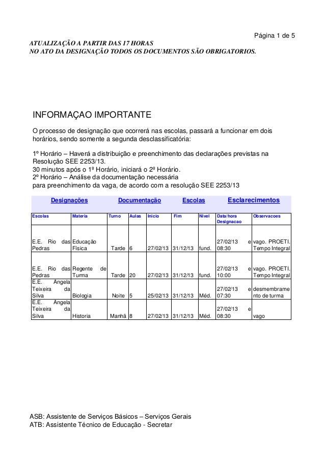 Página 1 de 5ATUALIZAÇÃO A PARTIR DAS 17 HORASNO ATO DA DESIGNAÇÃO TODOS OS DOCUMENTOS SÃO OBRIGATORIOS. INFORMAÇÃO IMPORT...