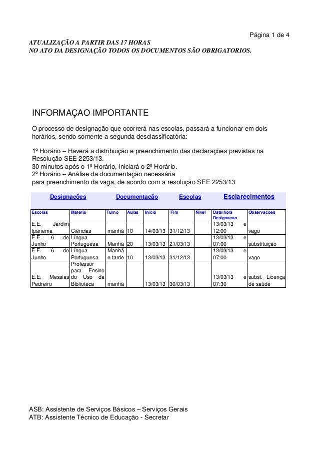 Página 1 de 4ATUALIZAÇÃO A PARTIR DAS 17 HORASNO ATO DA DESIGNAÇÃO TODOS OS DOCUMENTOS SÃO OBRIGATORIOS. INFORMAÇÃO IMPORT...