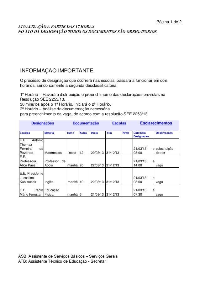 Página 1 de 2ATUALIZAÇÃO A PARTIR DAS 17 HORASNO ATO DA DESIGNAÇÃO TODOS OS DOCUMENTOS SÃO OBRIGATORIOS. INFORMAÇÃO IMPORT...