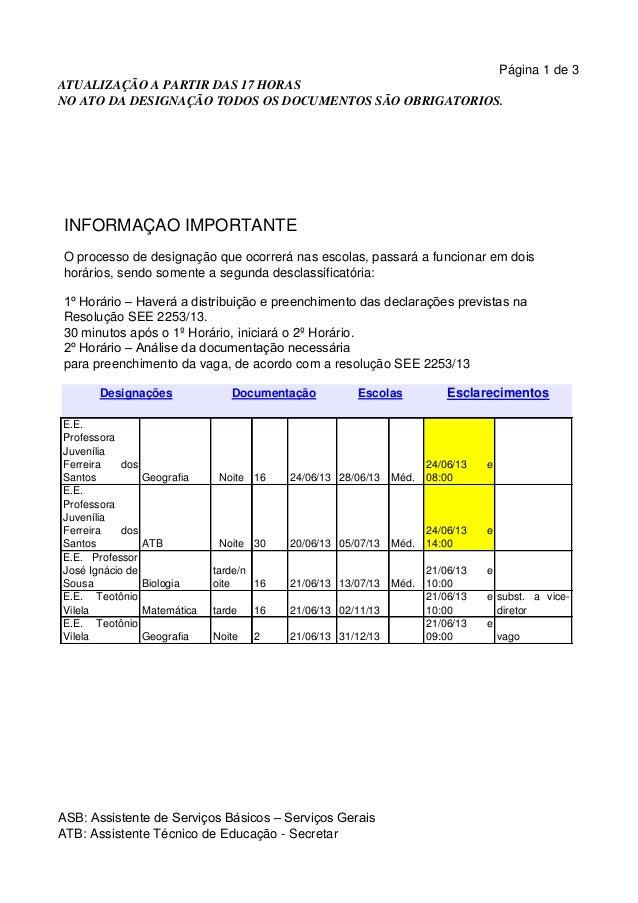ATUALIZAÇÃO A PARTIR DAS 17 HORASNO ATO DA DESIGNAÇÃO TODOS OS DOCUMENTOS SÃO OBRIGATORIOS.Página 1 de 3INFORMAÇÃO IMPORTA...