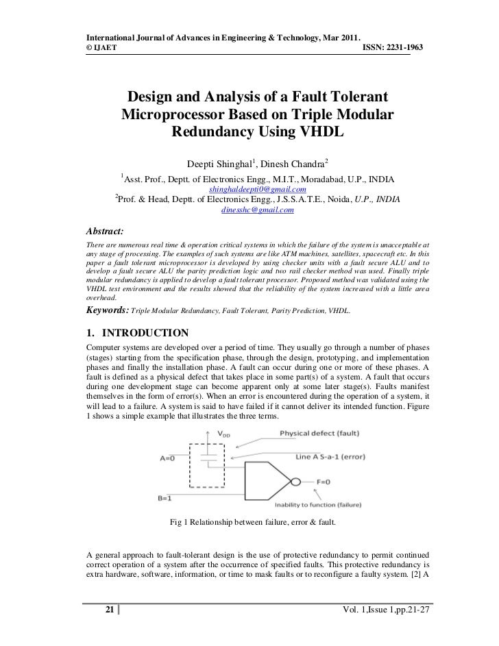 Design and analysis of fault tolerant microprocessor based on tmr using vhdl copyright ijaet