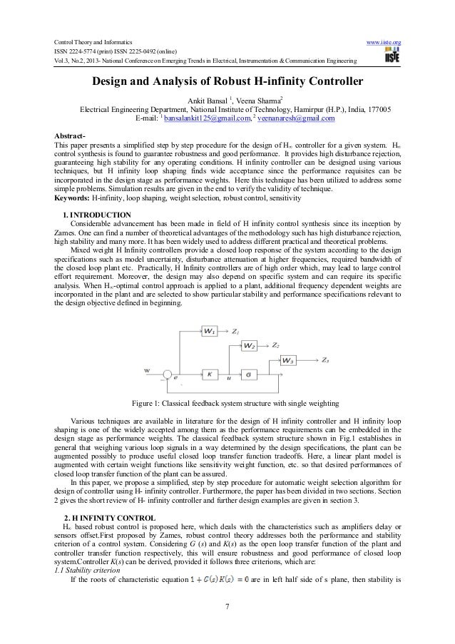 Design and analysis of robust h infinity controller