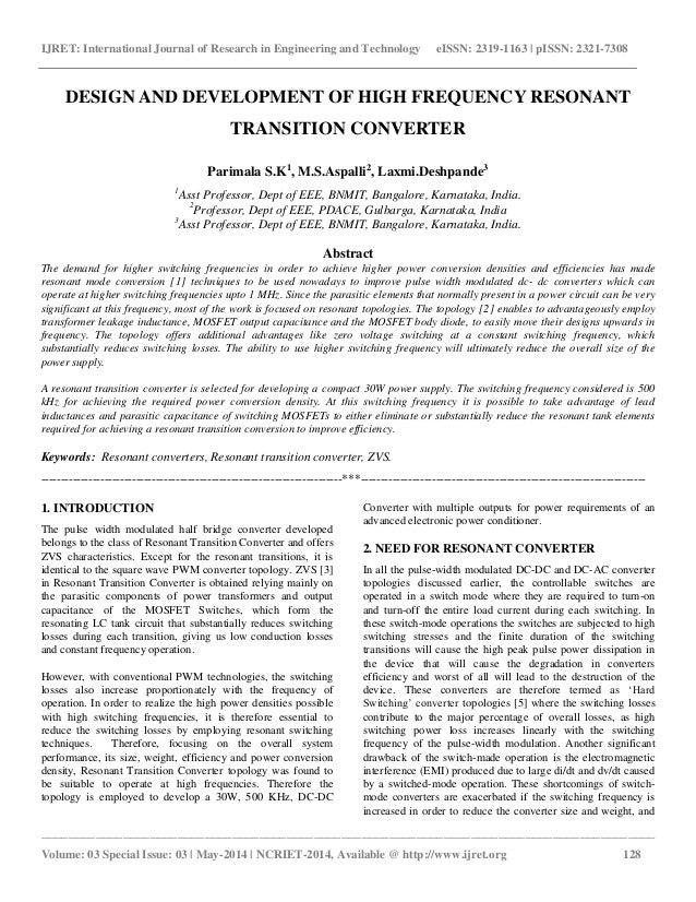 Design and development of high frequency resonant transition converter