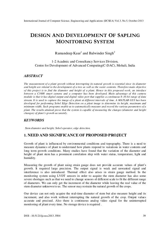 Design and development of sapling monitoring system