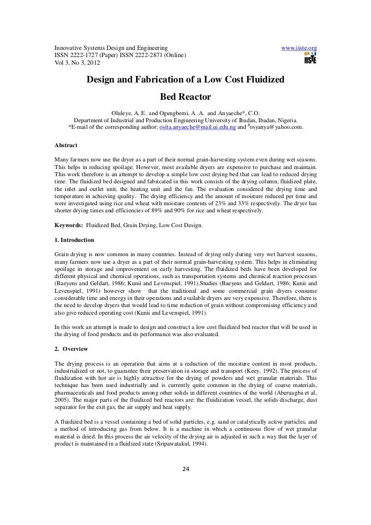 Design and fabrication of a low cost fluidized