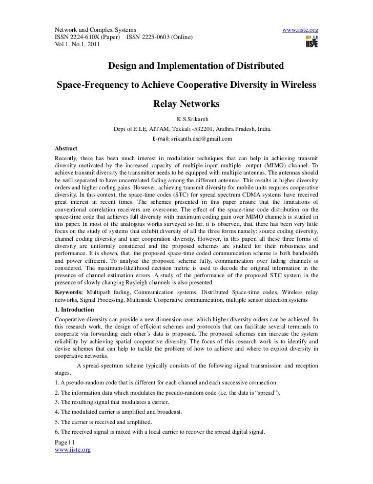 Design and implementation of distributed space frequency to achieve cooperative diversity in wireless relay networks