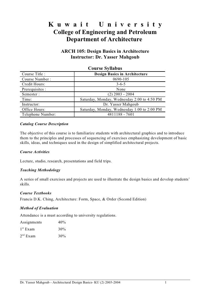 Architectural Design Basics Syllabus 2004